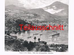 055 Kirchner: Lugano See Schiffe Tessin Großbild Druck 1891!! - Stampe