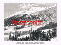 056 Heyn: Pontresina Engadin Berge Großbild Druck 1891!! - Stampe