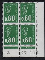 FRANCE  Coin Daté ** Marianne De Becquet  0,80  23.9.76  N° Yvert 1894  Neuf Sans Charnière CD - 1970-1979