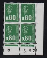 FRANCE  Coin Daté ** Marianne De Becquet  0,80  -6.9.76  N° Yvert 1894  Neuf Sans Charnière CD - 1970-1979
