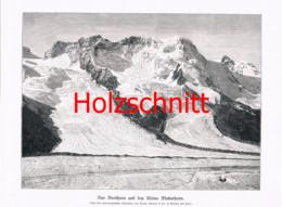 062 Breithorn Matterhorn Zermatt Gletscher Großbild Druck 1899!! - Stampe
