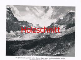 066-2 Fridolinshütte Tödi SAC Alpenverein Gletscher Großbild Druck 1899!! - Stampe