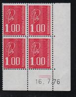 FRANCE  Coin Daté ** Marianne De Becquet  1,00  16.7.76  N° Yvert 1895  Neuf Sans Charnière CD - 1970-1979