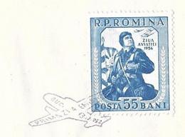 ROUMANIE JOURNEE DE L AVIATION 1954, ENVELOPPE ILLUSTREE LE PARACHUTISME, TIMBRE PARACHUTISTE OBLITERATION AVION, A VOIR - Cartas