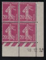 FRANCE  Coin Daté ** Semeuse 20c  18.12.26 N° Yvert 190  Neuf Sans Charnière CD - ....-1929