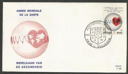 Belgique 1972 1619 FDC Année Mondiale De La Santé Planisphère Campagne Mondiale Du Cœur Oblitération Gullegem Wereldjaar - Croce Rossa