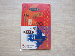 Private Issued GPT Phonecard,SGBLA 10 Years Of Singapore Phonecards 1985-1995, Mint, Rare - Singapore