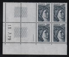 FRANCE  Coin Daté **  Sabine  0,01  13.7.79 N° Yvert  1962  Neuf Sans Charnière CD - 1970-1979