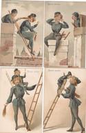 Amusante Série De 4  CPA   BONNE ANNEE    RAMONEURS  Et FEMME RAMONEUR - Nouvel An