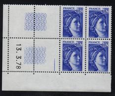 FRANCE  Coin Daté **  Sabine  0,02  13.3.78 N° Yvert  1963 Gomme Tropicale Neuf Sans Charnière CD - 1970-1979