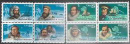 US  1986 Sc#2223a 22c Arctic Explorers & Sc#2389a  25c Antarctic Explorers Blocks MNH  Face Value $1.88 - Ungebraucht