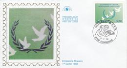 MONACO FDC 1998 ACADEMIE DE LA PAIX - FDC
