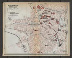 CARTE PLAN 1914 - MONTPELLIER - HOTEL De La MÉTROPOLE - GRAND HOTEL - HOTEL Du MIDI - TRAMWAYS - PAVILLON POPULAIRE - Carte Topografiche