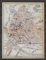 CARTE PLAN 1914 - BÉZIERS - HOTELS De La Cie Du MIDI Du NORD Du GLACIER MODERN HOTEL Du COMMERCE - USINE TRAMWAYS - Carte Topografiche