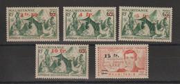 Mauritanie 1944 Série Courante Surchargée 133-37 5 Val ** MNH - Unused Stamps