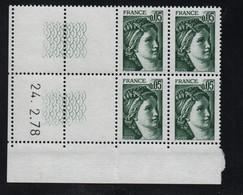 FRANCE  Coin Daté **  Sabine  0,05  24.2.78 N° Yvert  1964 Gomme Tropicale Neuf Sans Charnière CD - 1970-1979