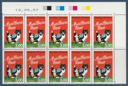 3123 3f. MEILLEURS VOEUX (chat / Souris) BLOC De 10 CD 10.09.97 Par Erreur! - 1990-1999