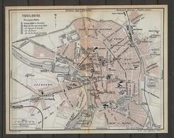 CARTE PLAN 1914 - TOULOUSE - HOTELS CAPOUL & SONVILLE - GRAND HOTEL & TIVOLLIER - HOTEL De L'EUROPE Et Du MIDI - Carte Topografiche