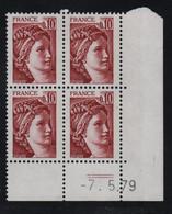 FRANCE  Coin Daté **  Sabine  0,10  -7.5.79 N° Yvert  1965 Neuf Sans Charnière CD - 1970-1979