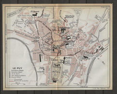 CARTE PLAN 1914 - LE PUY - TERMINUS HOTEL - HOTEL Des AMBASSADEURS - HOTEL De La GARE - GRAND HOTEL - - Carte Topografiche