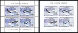 Feuillet** D + Feuillet** ND / (G + Ong) - Les Avions / De Vliegtuigen / Flugzeuge / Planes -  Airbus - CONGO - Ongebruikt
