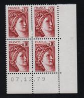 FRANCE  Coin Daté **  Sabine  0,10  07.12.79 N° Yvert  1965 Neuf Sans Charnière CD - 1970-1979