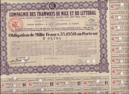 COMPAGNIE DES TRAMWAYS DE NICE ET DU LITTORAL - OBLIGATION DE 1000 FRS - 5% 1930 - - Ferrovie & Tranvie