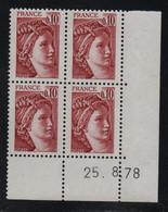 FRANCE  Coin Daté **  Sabine  0,10  25.8.78  N° Yvert  1965 Neuf Sans Charnière CD - 1970-1979