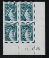 FRANCE  Coin Daté **  Sabine  0,15  11.6.80  N° Yvert  1966 Neuf Sans Charnière CD - 1970-1979