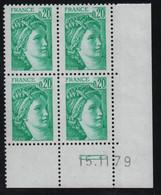 FRANCE  Coin Daté **  Sabine  0,20  15.11.79  N° Yvert  1967 Neuf Sans Charnière CD - 1970-1979