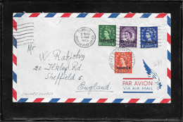 Tangier ,Tangeri 1955 ,multifranked Cover To Sheffield ,GB (Ref 1041z) - Morocco Agencies / Tangier (...-1958)