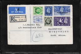 Tangier 1950 ,multifranked Registred Cover From London To South Africa (Ref 1041y) - Morocco Agencies / Tangier (...-1958)