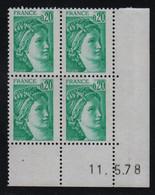 FRANCE  Coin Daté **  Sabine  0,20  11.5.78  N° Yvert  1967 Neuf Sans Charnière CD - 1970-1979