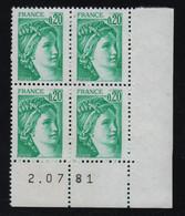 FRANCE  Coin Daté **  Sabine  0,20  2.07.81  N° Yvert  1967 Neuf Sans Charnière CD - 1970-1979