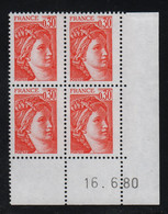 FRANCE  Coin Daté **  Sabine  0,30  16.6.80  N° Yvert  1968 Neuf Sans Charnière CD - 1970-1979
