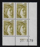 FRANCE  Coin Daté **  Sabine  0,80  23.3.79  N° Yvert  1971 Neuf Sans Charnière CD - 1970-1979
