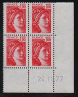 FRANCE  Coin Daté **  Sabine  1,00  24.11.77  N° Yvert  1972 Neuf Sans Charnière CD - 1970-1979