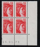 FRANCE  Coin Daté **  Sabine  1,20  15.01.79  N° Yvert  1974 Neuf Sans Charnière CD - 1970-1979