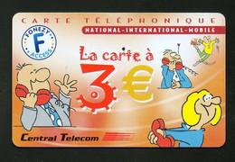 "CARTE TELEPHONIQUE NATIONAL - INTERNATIONAL - MOBILE Central Telecom ""La Carte à 3€"" - Altre Schede Prepagate"