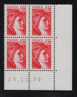 FRANCE  Coin Daté **  Sabine  1,20  29.11.78  N° Yvert  1974 Neuf Sans Charnière CD - 1970-1979