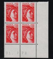 FRANCE  Coin Daté **  Sabine  1,20  31.7.78  N° Yvert  1974 Neuf Sans Charnière CD - 1970-1979