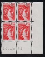 FRANCE  Coin Daté **  Sabine  1,20  20.10.78  N° Yvert  1974 Neuf Sans Charnière CD - 1970-1979