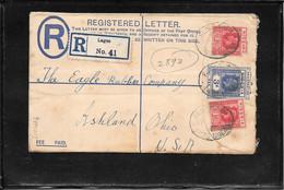 Nigeria 1931, Uprated Registred Postal Stationery From Lagos To Ashland, Usa ( Ref 1004c) - Nigeria (...-1960)