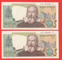 Italia 2000 Lire 1983 Galilei Numeri Serie Consecutive UNC  Repubblica - 2000 Lire