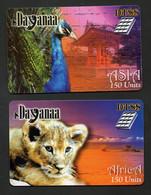 """Lot 2 Cartes Téléphoniques Dayanaa150 Units """"ASIA (paon) Et Africa (lionceau)"""" - Altre Schede Prepagate"""