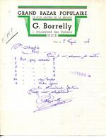 FACTURE.06.NICE.GRAND BAZAR POPULAIRE.G.BORRELLY 1 BOULEVARD DES ITALIENS. - Non Classificati