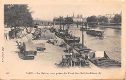75 - Paris - La Seine Magnifiquement Animée - Panorama Pris Du Pont Des Saints-Pères - Attelages - Die Seine Und Ihre Ufer