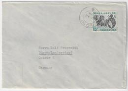 Kenya Uganda And Tanganyika 1958 Cover Sent From Soni To Düren / Germany Elephant Stamp 15 Cents Queen Elizabeth II - Kenya, Uganda & Tanganyika