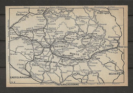 CARTE PLAN 1914 - MONTAGNE NOIRE - CASTRES - ALBI - L'ESPINOUSSE - MONT LACAUNE - Ste AFFRIQUE - LAVAUR - Carte Topografiche