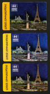 """Lot 3 Cartes Téléphoniques LEADER COMMUNICATIONS 60 UNITES """"MONUMENTS DE PARIS"""" Avec 3 Versos Différents - Altre Schede Prepagate"""